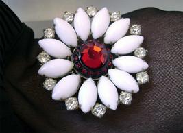 Vintage Red Rhinestone Milk Glass  Daisy Brooch Juliana D&E Style  - $25.00