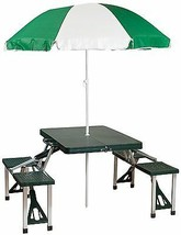 Portable Table Seat Chair Umbrella Sun Shade Outdoor Travel Camping Fold... - $82.58