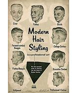 Vintage Ad Modern Hair Styling Chart Barbershop Haircut Drawings Barber ... - $12.87+