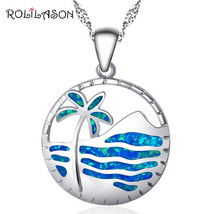 Round Beach Coconut Trees Blue Fire Opal Silver Stamped Necklace Pendant... - $10.08