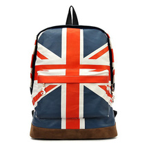 British flag student waterproof canvas travel shoulder bag - $20.00
