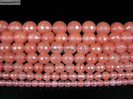 Natural Red Cherry Quartz Gemstone Faceted Round Beads 15.5'' 4mm 6mm 8m... - $1.74+
