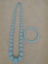 Necklace + Matching Bangle Bracelet Baby Blue Costume Jewelry Set Vintag... - $12.99