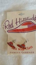 NEW RED HAT SOCIETY ENAMELED DANGLE POST STUD EARRINGS,RED H'ATTITUDE,SI... - $5.93