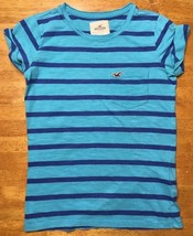 Hollister Women's Blue Striped Short Sleeve Pocket Shirt / Blouse - Size... - $13.36