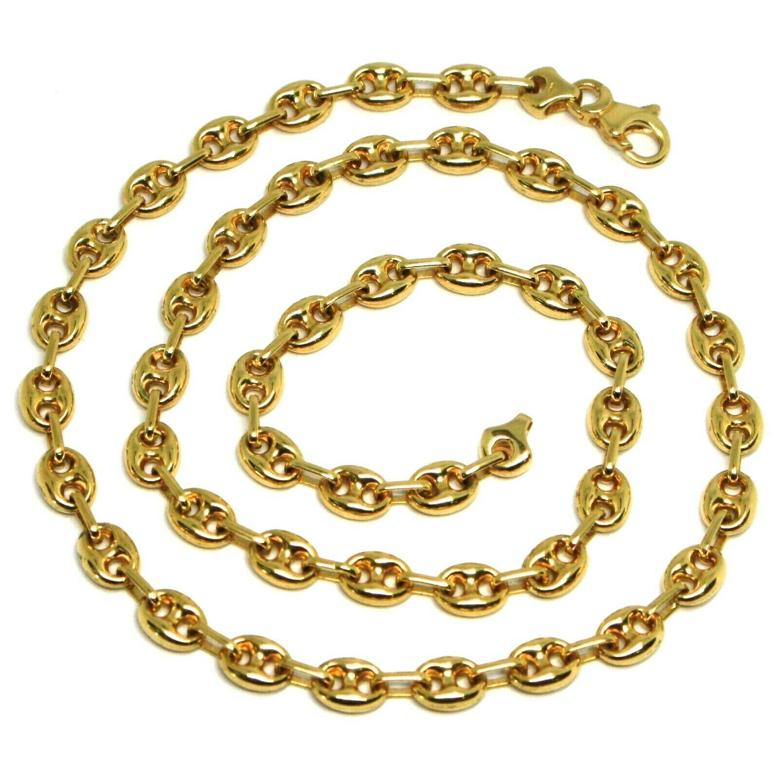 18K YELLOW GOLD SOLID MARINER CHAIN BIG 6 MM, 24 INCHES, ANCHOR ROUNDED NECKLACE