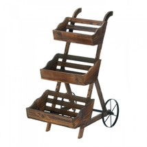 Wooden 3-tier Plant Cart Stand - $253.31 CAD