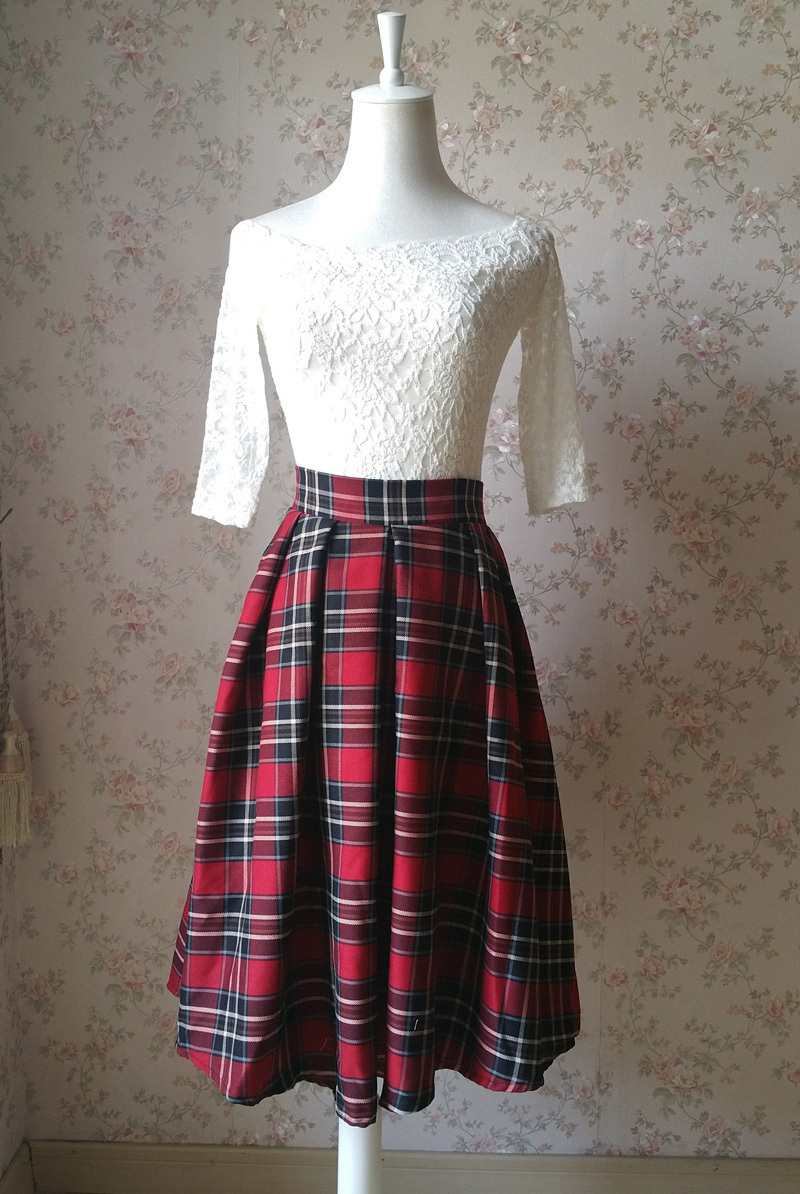 2017 Autumn Women Plaid Skirt Pleated Plaid Skirt - High Waist, Red Check,Midi