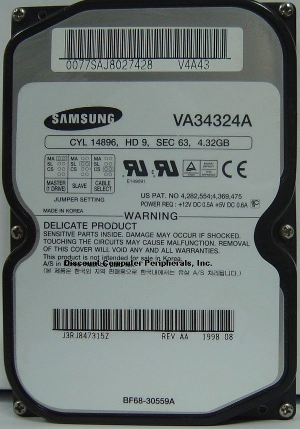 4.3GB 3.5in IDE Drive Samsung VA34324A Tested Good Free USA Ship Our Drives Work