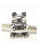 Frog Toad Animal Bead Silver Tone Large Hole Slider for European Charm B... - $4.50