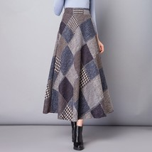 Winter Winter Plaid Woolen Skirt Long Female Thick Umbrella Big Swing Hi... - $58.38