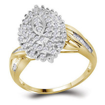 10kt Yellow Gold Womens Round Diamond Oval Twist Cluster Ring 3/4 Cttw - £319.49 GBP