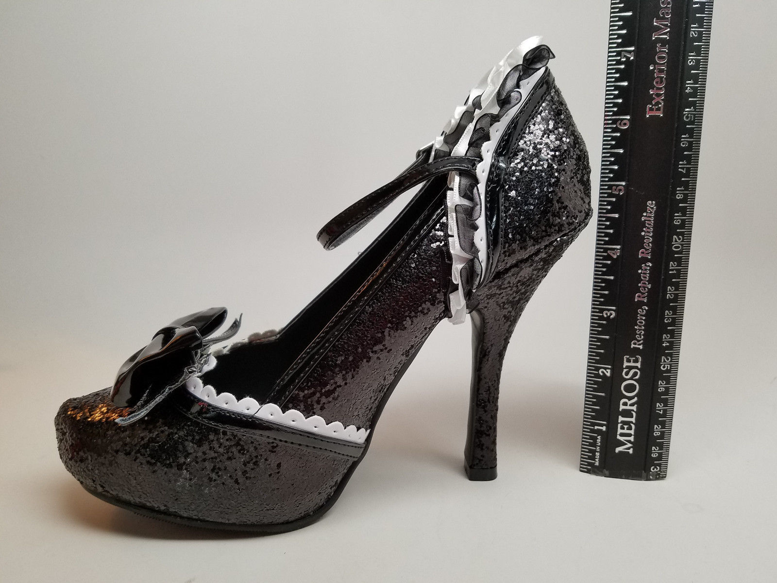 CLEAR-OUT SALE!!  ELLIE Size 5 Pumps Wing Tip BLACK GLITTER French Maid Tuxedo