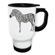 Beautiful Black and White Zebra Animal White/Steel Travel 14oz Mug y104t - $17.79