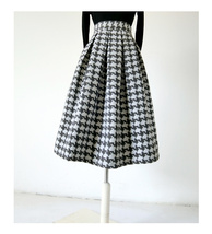 Women Black Houndstooth Skirt Winter Houndstooth Pleated Skirt Wool Party Skirt image 3
