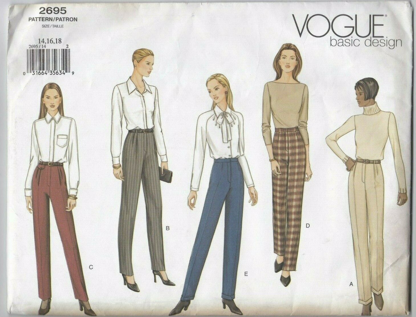 Primary image for Vogue Basic Design 2695 Women's Pants or Trousers 14-16-18 Uncut Sewing Pattern