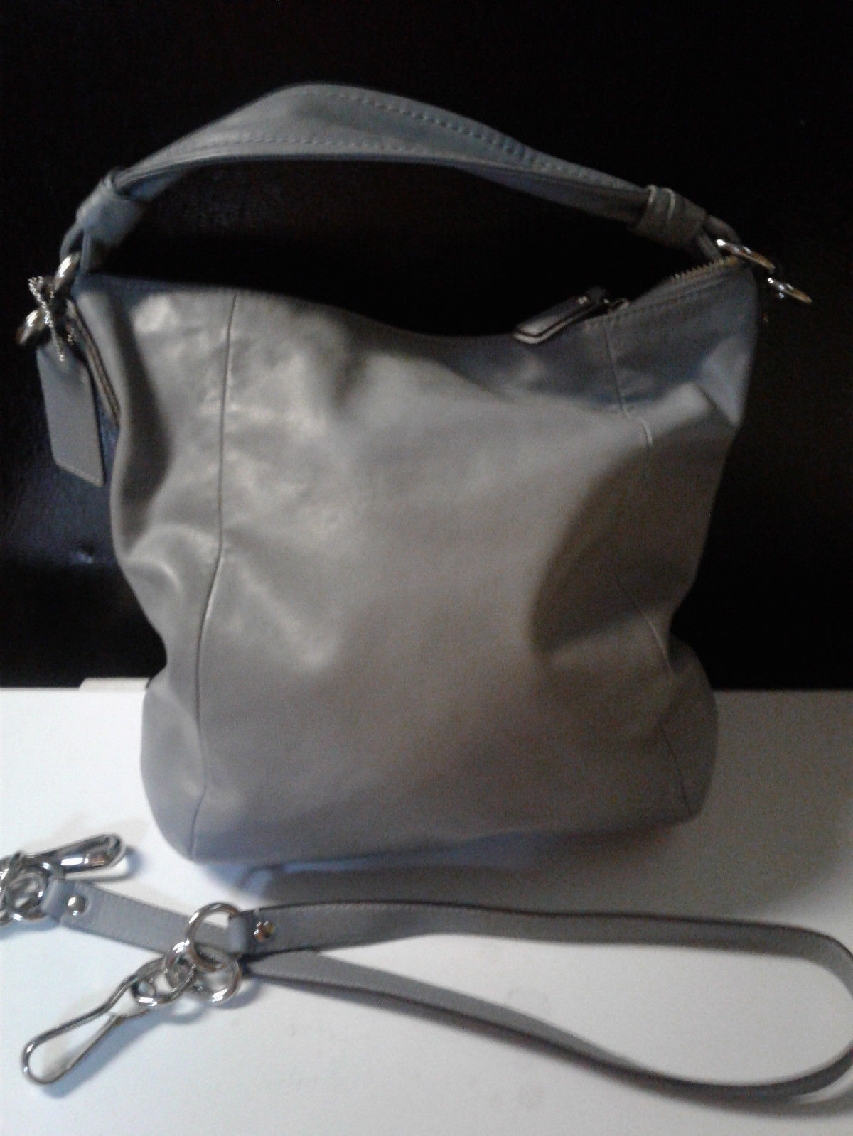 Coach Kristin Gray / Blue Purse W/Pink Interior & Crossbody Strap EUC-14783