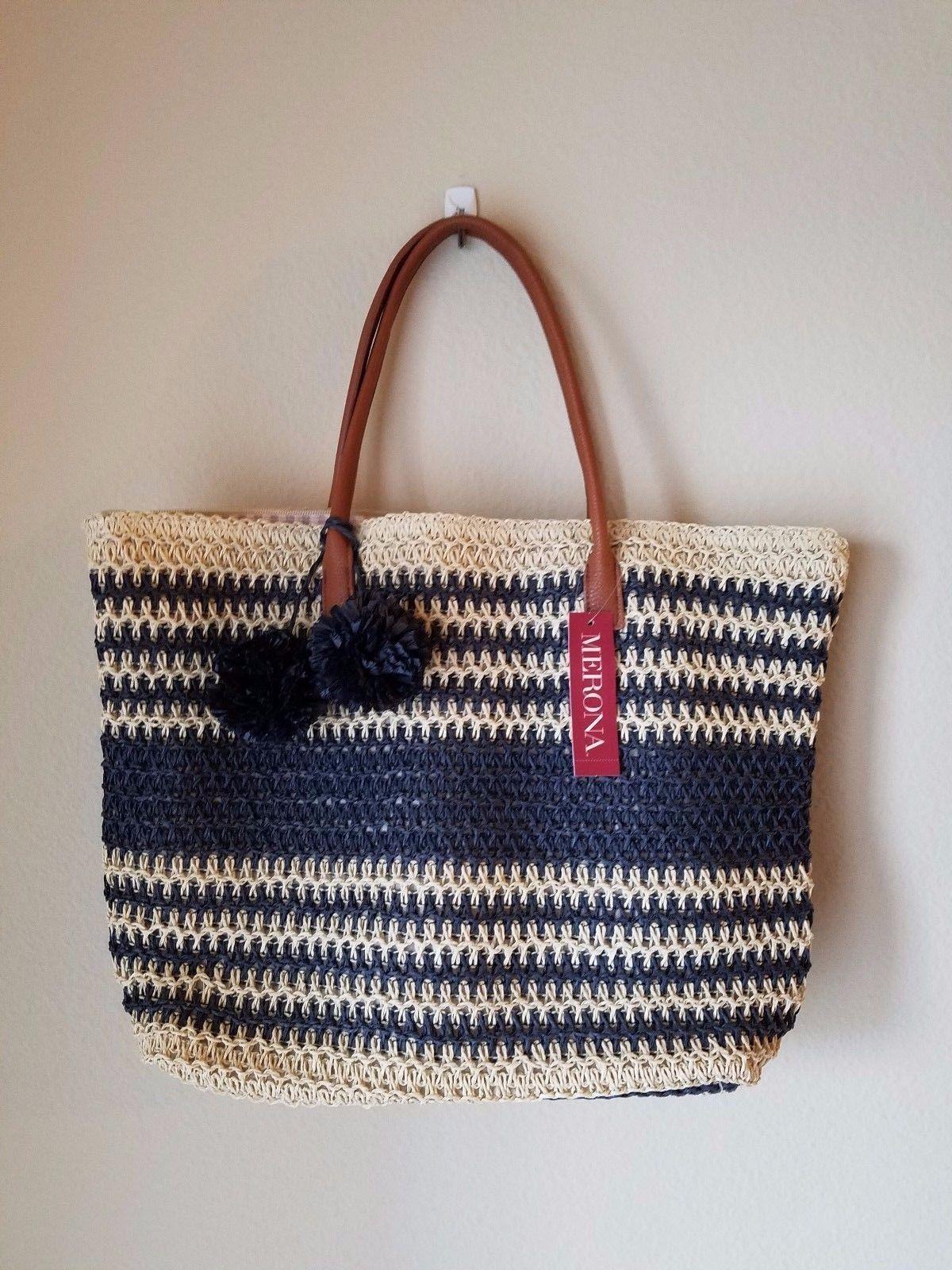 aadf3981560b NWT Merona Straw Tote Beach Bag Purse Oversize Navy Blue Stripe Pom Pom Zip  Top