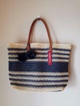 NWT Merona Straw Tote Beach Bag Purse Oversize Navy Blue Stripe Pom Pom ... - $8.85