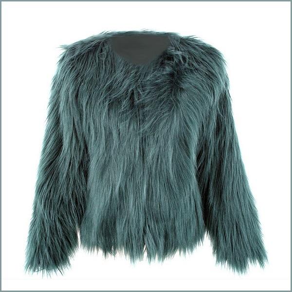 Long Shaggy Hair Dark Green Angora Sheep Faux Fur Medium Length Coat Jacket