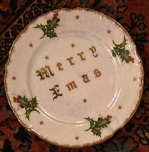 VINTAGE SALAD DESSERT PLATE MERRY X MAS CHRISTMAS IRIDESCENT HOLLY GOLD ... - $26.99