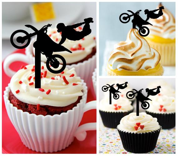 Wedding,Birthday Cake topper,Cupcake topper,silhouette motocross Package 11 pcs