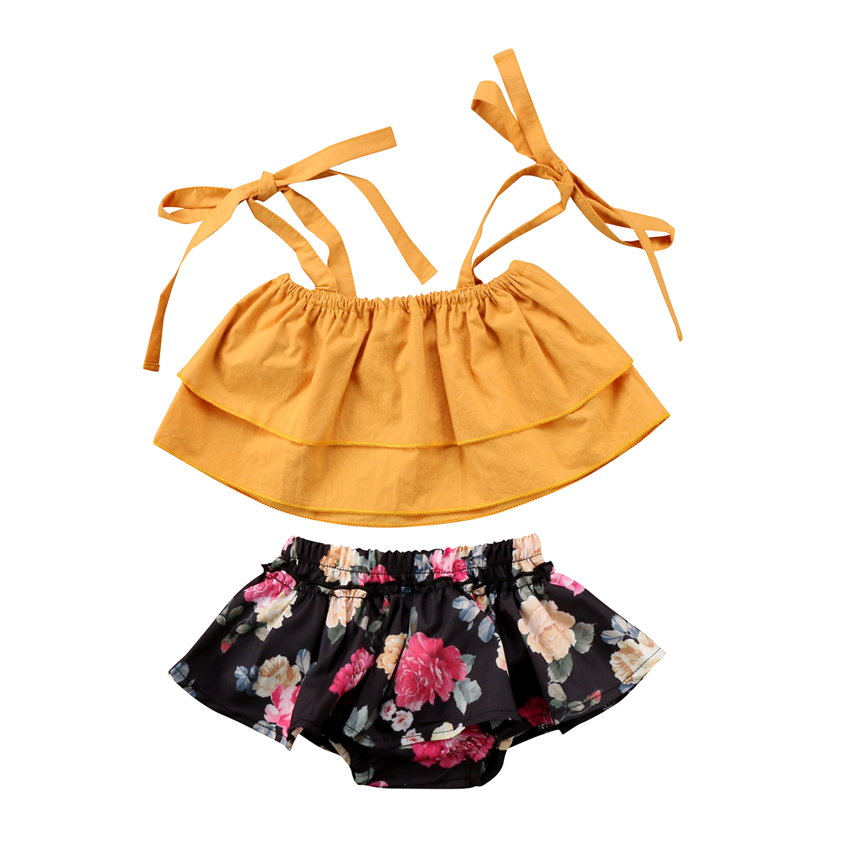 Ddler baby kids girls sister clothes sets strap tops sleeveless vest floral shorts 2pcs clothing