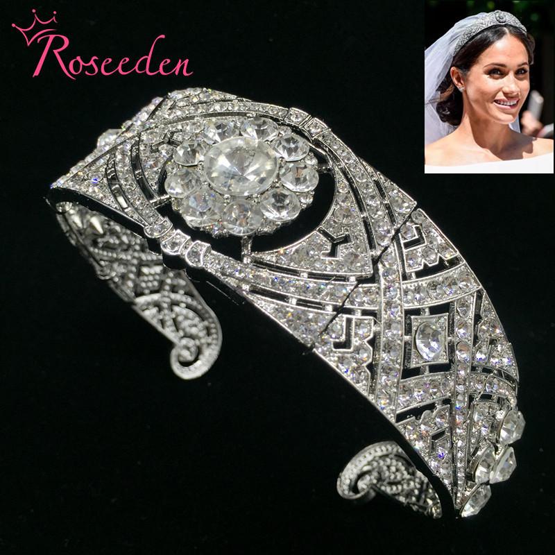 E meghan markle wedding tiara queen mary tiaras rhinestone crystal royal queen crown bridal hair