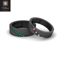 Joker and Harley Quinn Inspired Matching Rings For Couple Eternity Bands Couples - $249.99