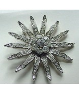 SPECTACULAR VINTAGE SUNBURST PAVE SET RHINESTONE PIN BROOCH SILVER TONE ... - £22.14 GBP