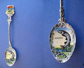 KENORA Ontario Souvenir Collector Spoon ENAMEL Collectible FISH FISHING