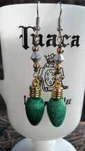 Green Christmas Light Earrings on Surgical Steel Ear Hooks Hand Made In USA - $19.99