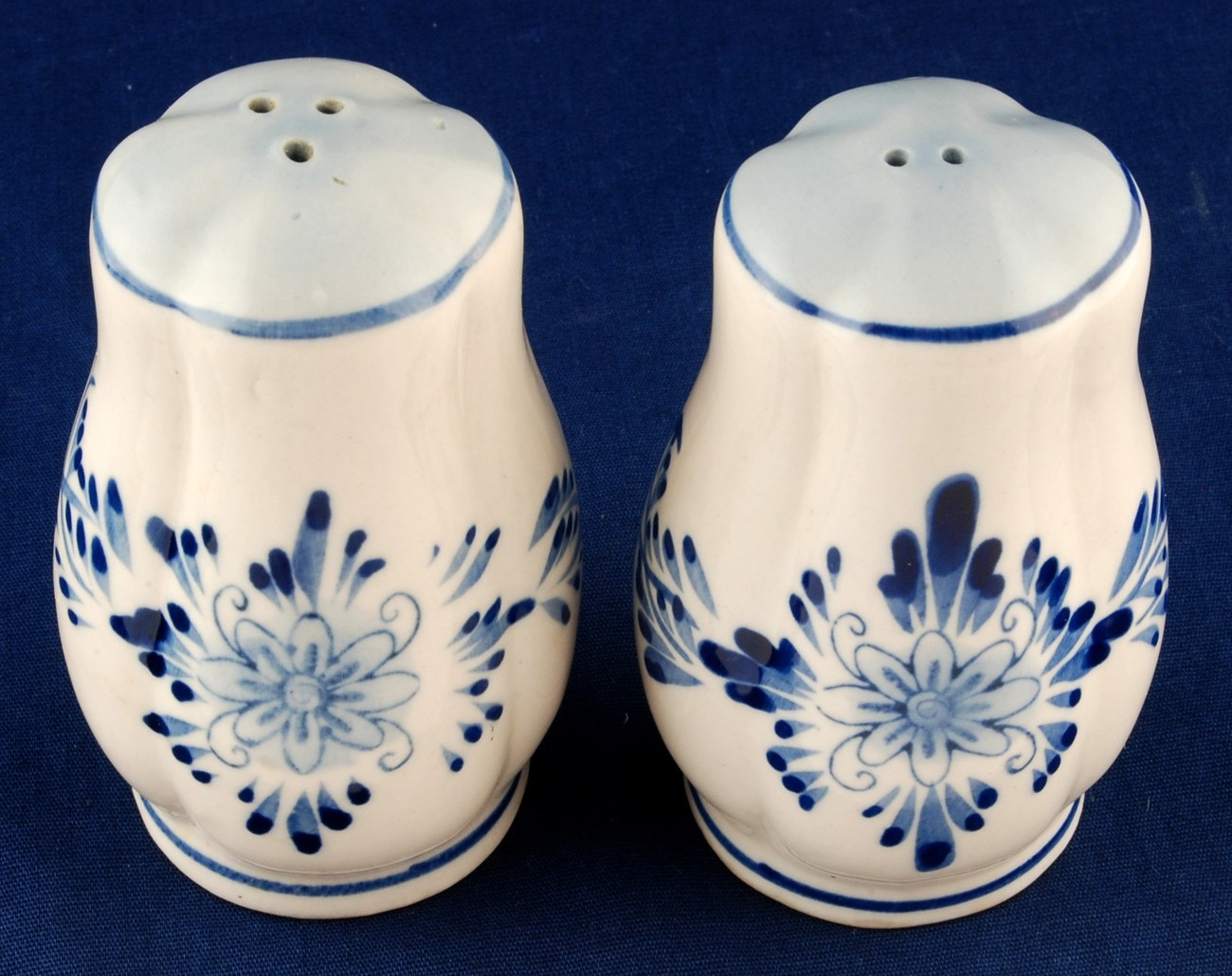 Blue & White Salt & Pepper Shakers Delft Style Hand Painted