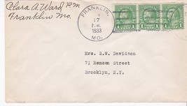 Franklin Mo January 17 1933 On 1C Franklin Stamp Signed By Postmaster - $2.98
