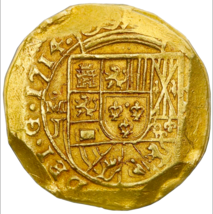 MEXICO 1714 8 ESCUDOS NGC UNC 1715 FLEET PIRATE GOLD SHIPWRECK COINS TRE... - $25,000.00