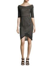 Jax BLACK LABEL Off-The-Shoulder Illusion Stripe Sheath Dress BLACK  MSR... - $29.00