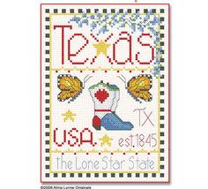 Texas Little State Sampler cross stitch chart Alma Lynne Originals - $6.50