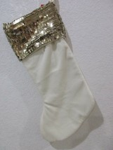 "New Elegant Sequin Gold Ivory Christmas Holiday Stocking 19"" PICK QTY - $23.99"