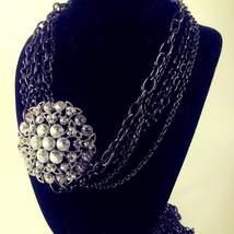 Large Vintage RHINESTONE PENDANT Necklace - $38.00