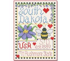South Dakota Little State Sampler cross stitch chart Alma Lynne Originals - $6.50