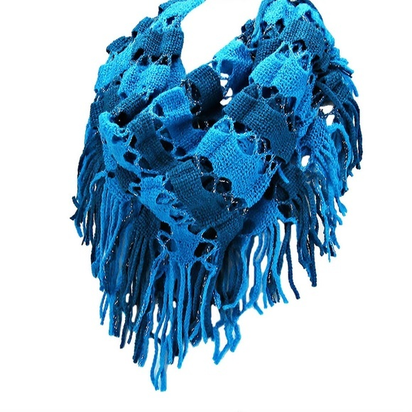 Blue Two Tone Silver Sparkle Tassel Infinity Scarf