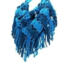 Blue Two Tone Silver Sparkle Tassel Infinity Scarf - £12.00 GBP