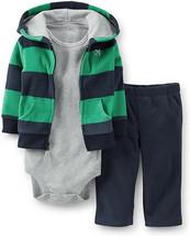 Carter's Boys 3-Piece Green / Navy Microfleece Cardigan Set Newborn - $14.80