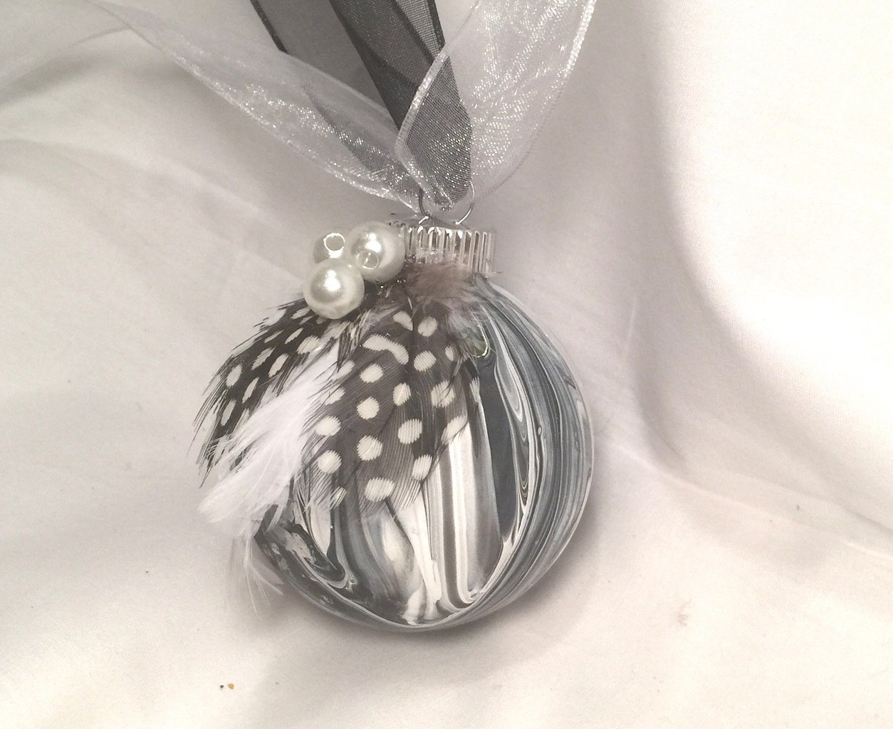 Black & White Marble Swirl Marble Acrylic Pour Painted Christmas Ornament Pearls