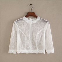 White 3/4 Sleeve Short Lace Tops Bridal Bridesmaid Shirts Boho wedding Lace Tops image 1