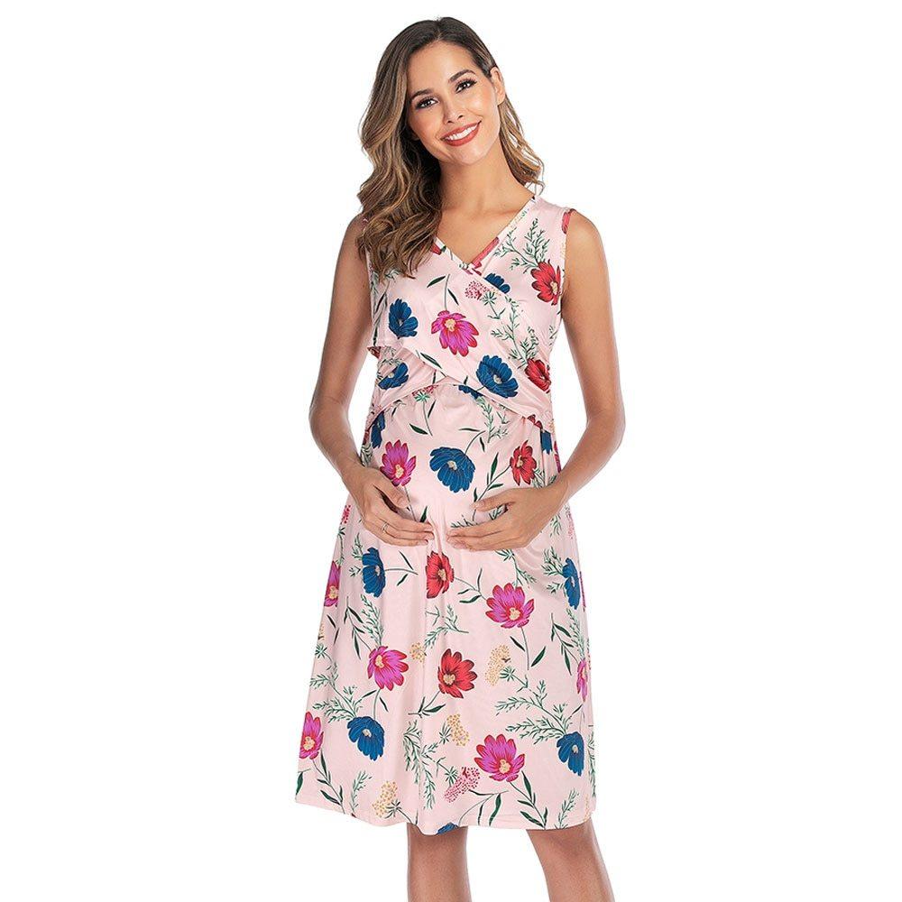 Maternity's Dress V Neck Floral Print Sleeveless Fashion Dress