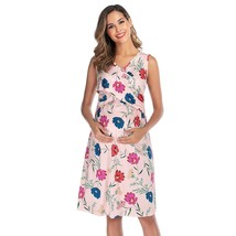 Maternity's Dress V Neck Floral Print Sleeveless Fashion Dress - $24.99