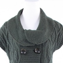 Charcoal gray double breasted CLASSIQUES ENTIER cap sleeve vest sweater S - $19.99