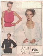 1874 Vogue Patrón de Costura Misses Jean Muir Suelto Ajuste Jersey Blusa... - $24.69