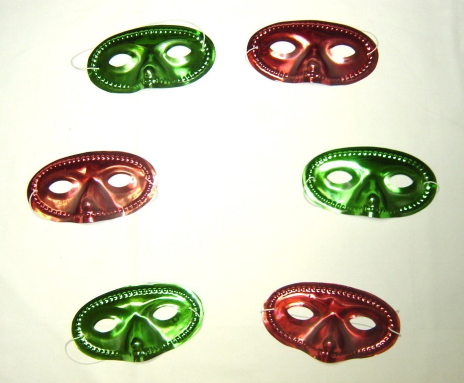 HALLOWEEN COSTUME CARNIVAL MARDI MASQUERADE 6 MASKS RED GREEN NWOT